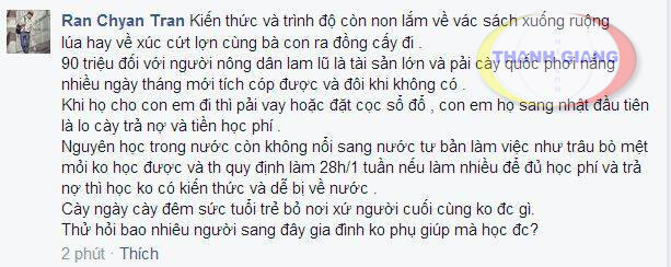 cảm thông với chia sẻ rất chân thực của Ran Chyan Tran.