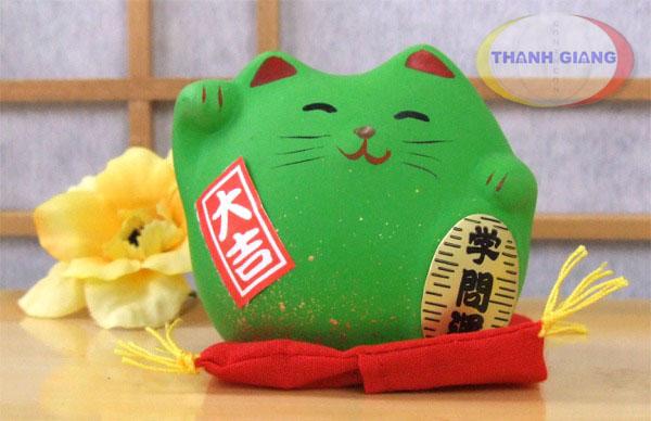 Mèo maneki Neko Xanh lá cây